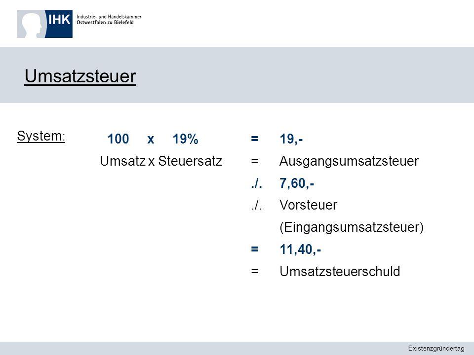 Umsatzsteuer System: 100 x 19% Umsatz x Steuersatz = ./. 19,-