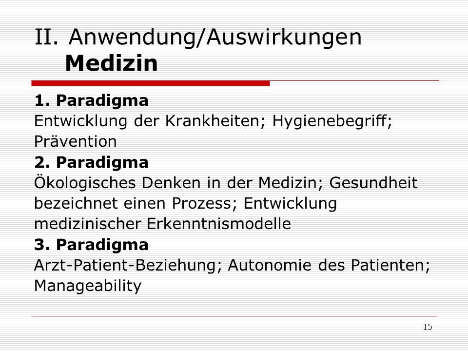 II. Anwendung/Auswirkungen Medizin