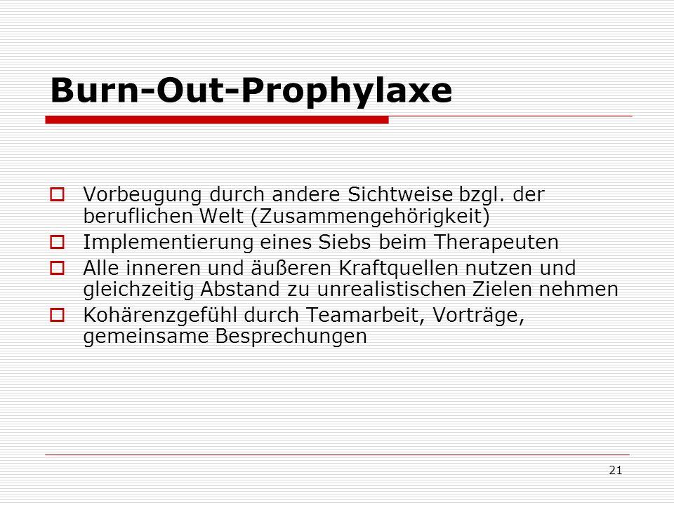 Burn-Out-Prophylaxe Vorbeugung durch andere Sichtweise bzgl. der beruflichen Welt (Zusammengehörigkeit)