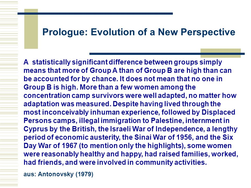 Prologue: Evolution of a New Perspective