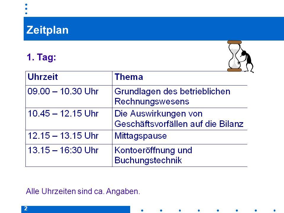 Zeitplan 1. Tag: Alle Uhrzeiten sind ca. Angaben.