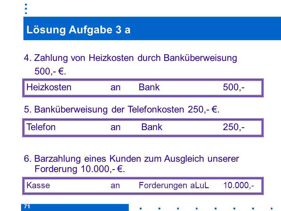 Lösung Aufgabe 3 a 4. Zahlung von Heizkosten durch Banküberweisung 500,- €. Heizkosten an Bank 500,-