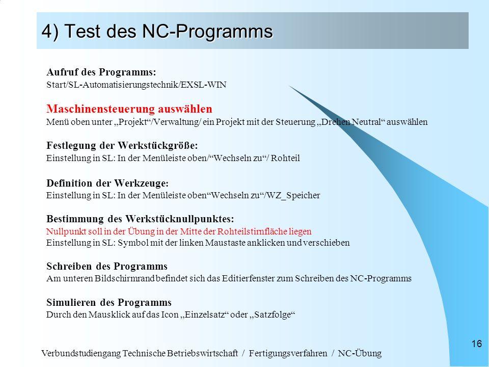 4) Test des NC-Programms