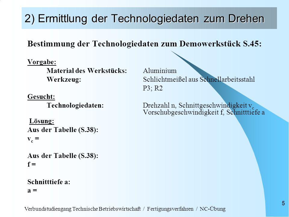 2) Ermittlung der Technologiedaten zum Drehen