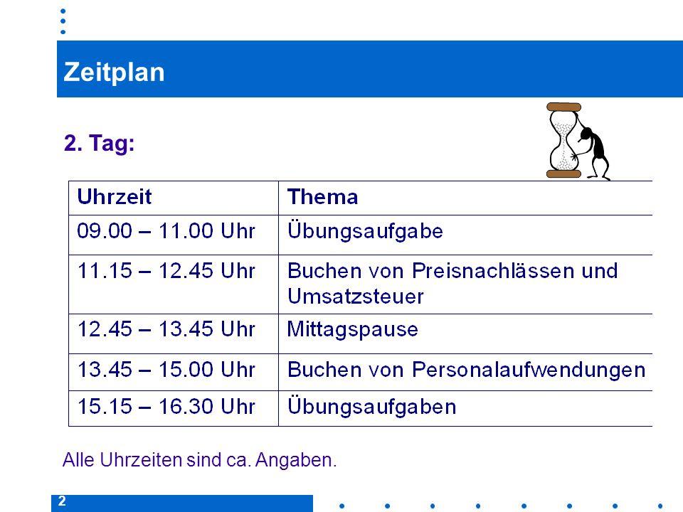 Zeitplan 2. Tag: Alle Uhrzeiten sind ca. Angaben.