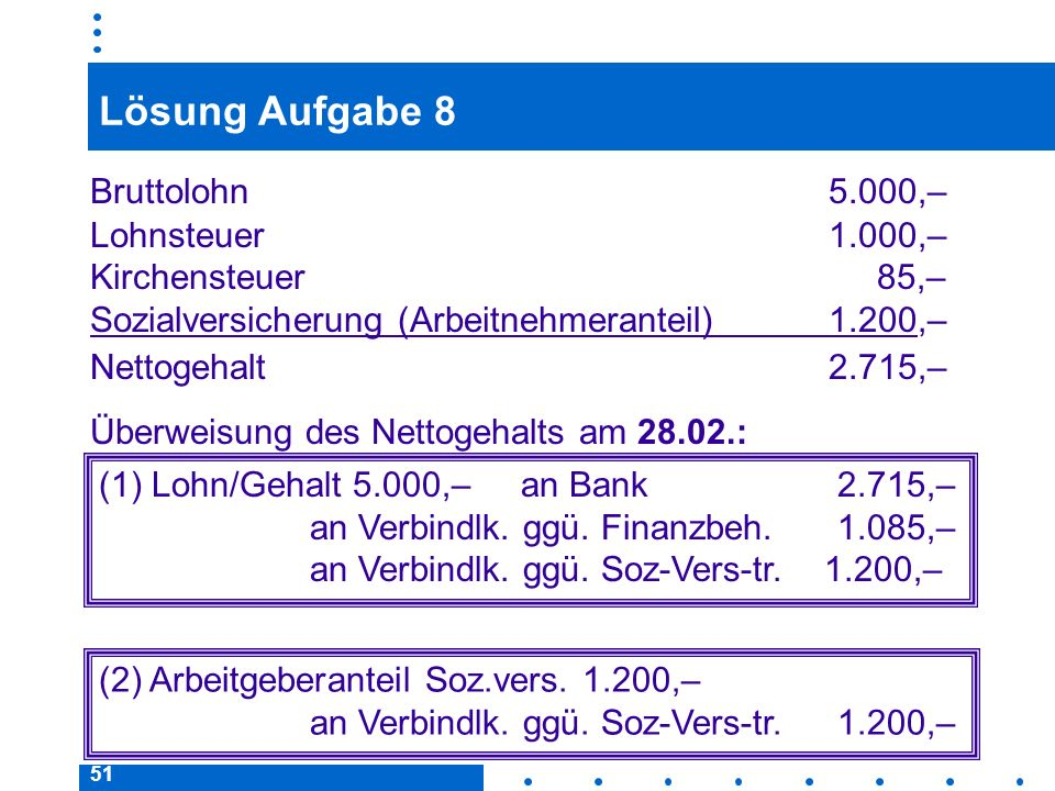 Lösung Aufgabe 8 Bruttolohn 5.000,– Lohnsteuer 1.000,–