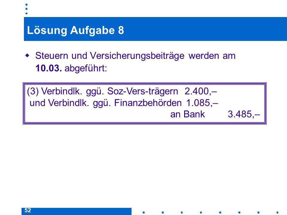 Lösung Aufgabe 8 Steuern und Versicherungsbeiträge werden am 10.03. abgeführt: (3) Verbindlk. ggü. Soz-Vers-trägern 2.400,–