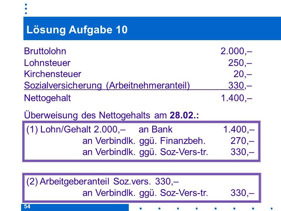 Lösung Aufgabe 10 Bruttolohn 2.000,– Lohnsteuer 250,–