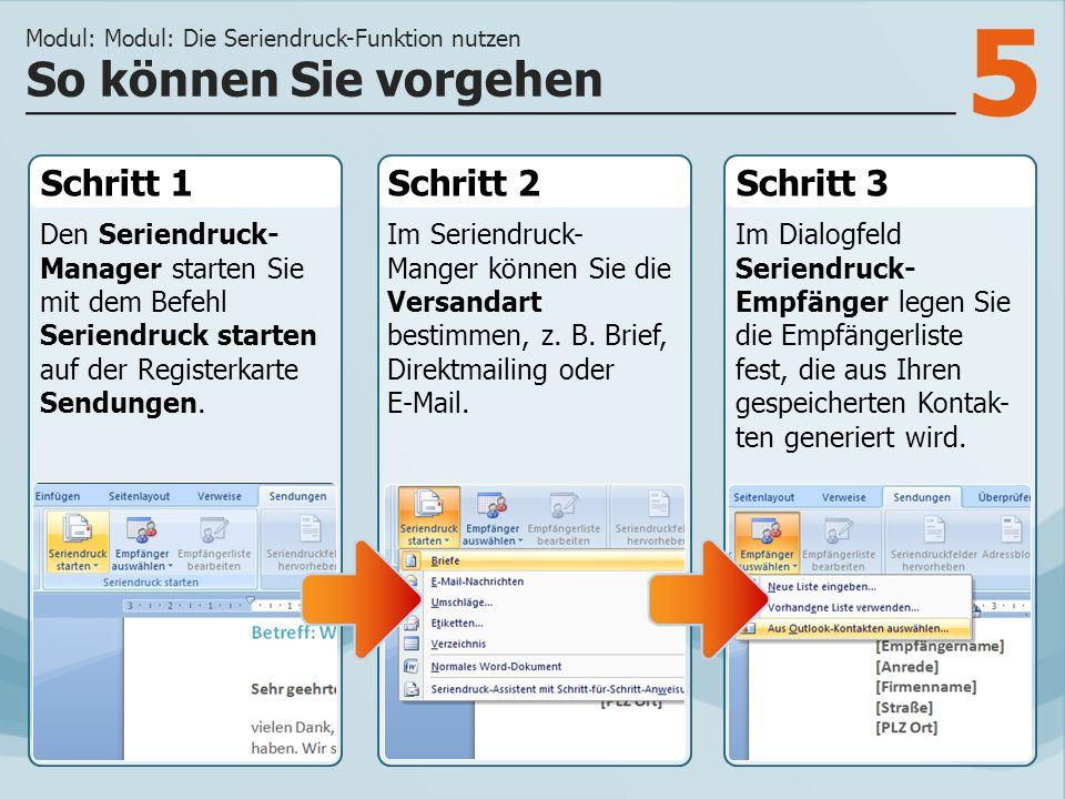 Modul: Modul: Die Seriendruck-Funktion nutzen