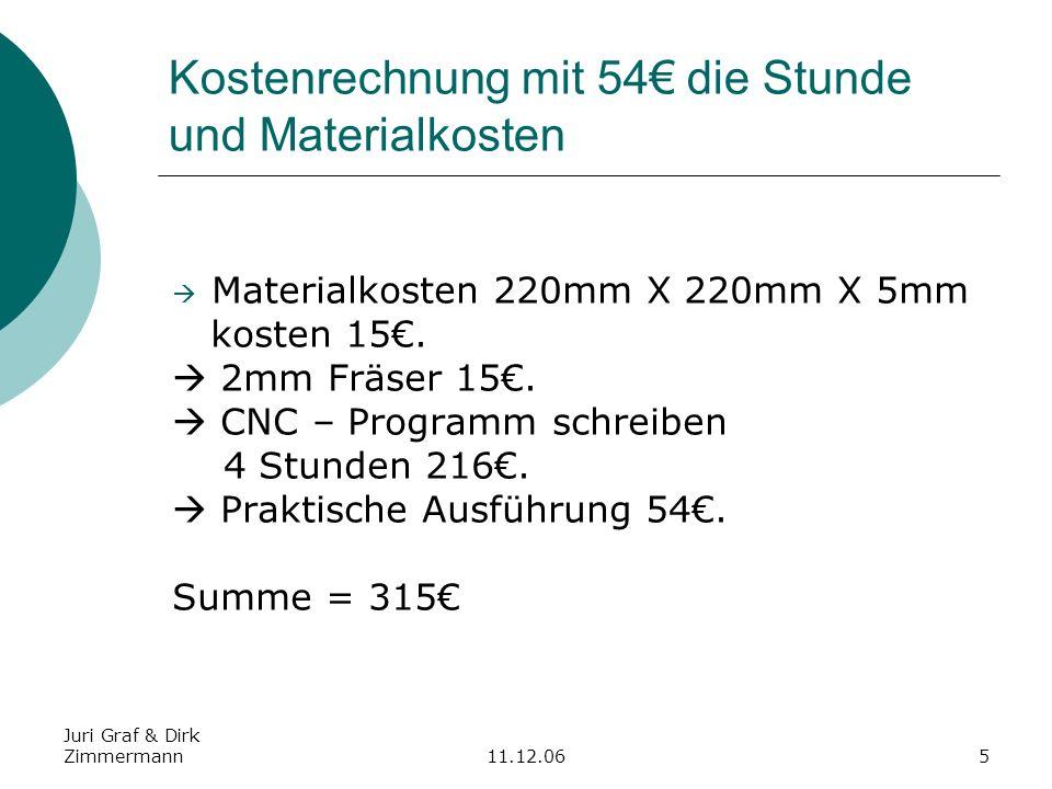 Kostenrechnung mit 54€ die Stunde und Materialkosten