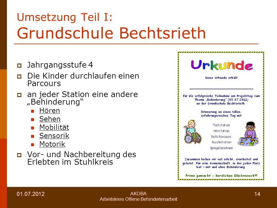 Umsetzung Teil I: Grundschule Bechtsrieth