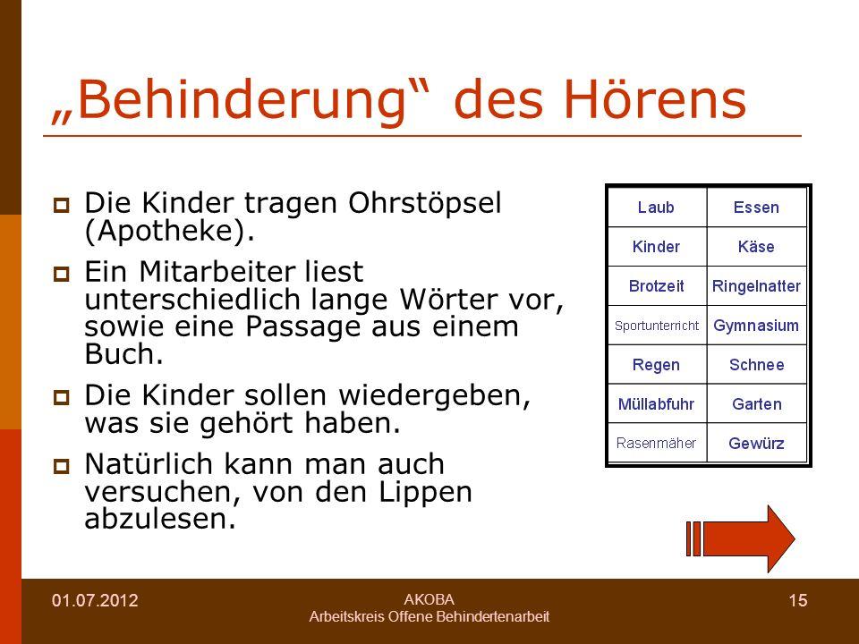 """""""Behinderung des Hörens"""