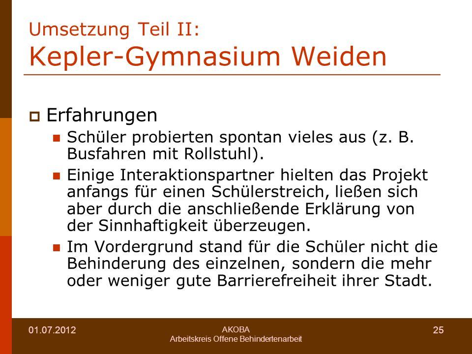 Umsetzung Teil II: Kepler-Gymnasium Weiden