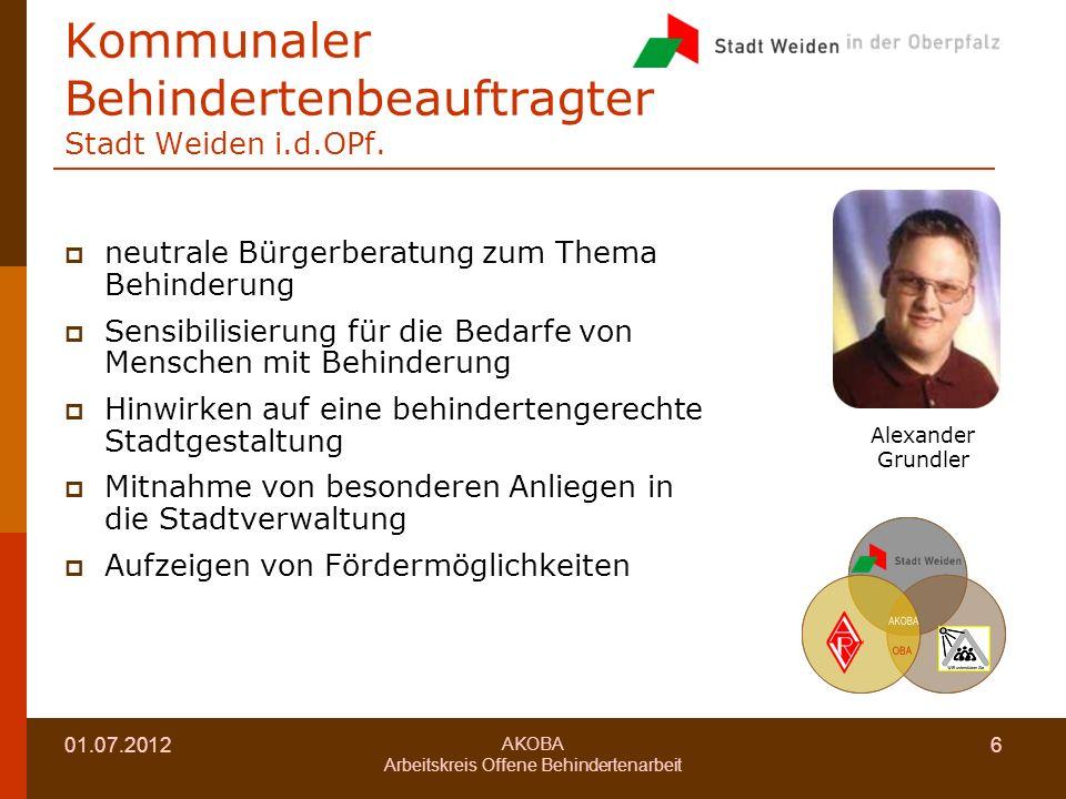Kommunaler Behindertenbeauftragter Stadt Weiden i.d.OPf.