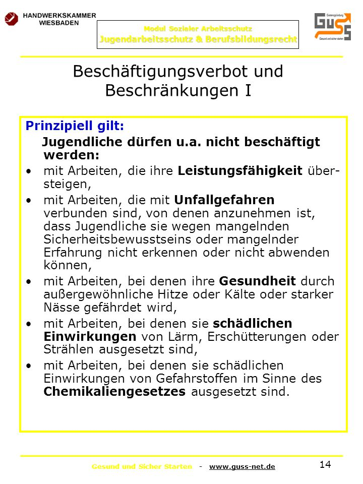 Beschäftigungsverbot und Beschränkungen I