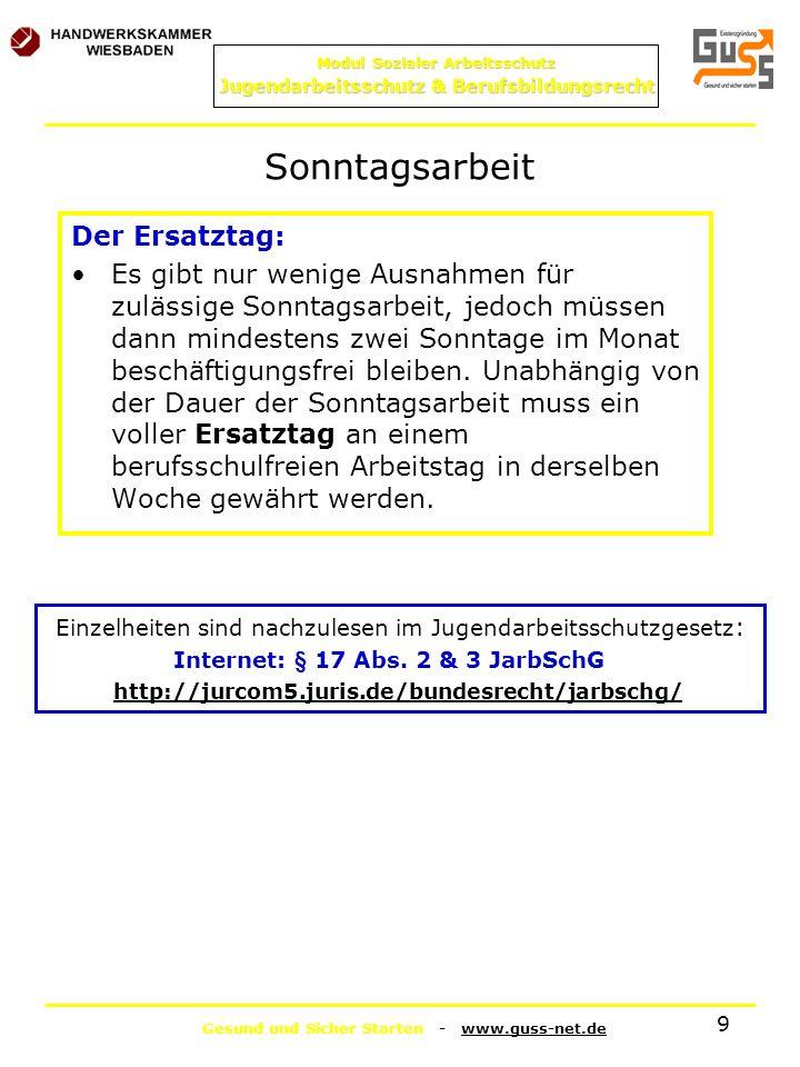 Internet: § 17 Abs. 2 & 3 JarbSchG