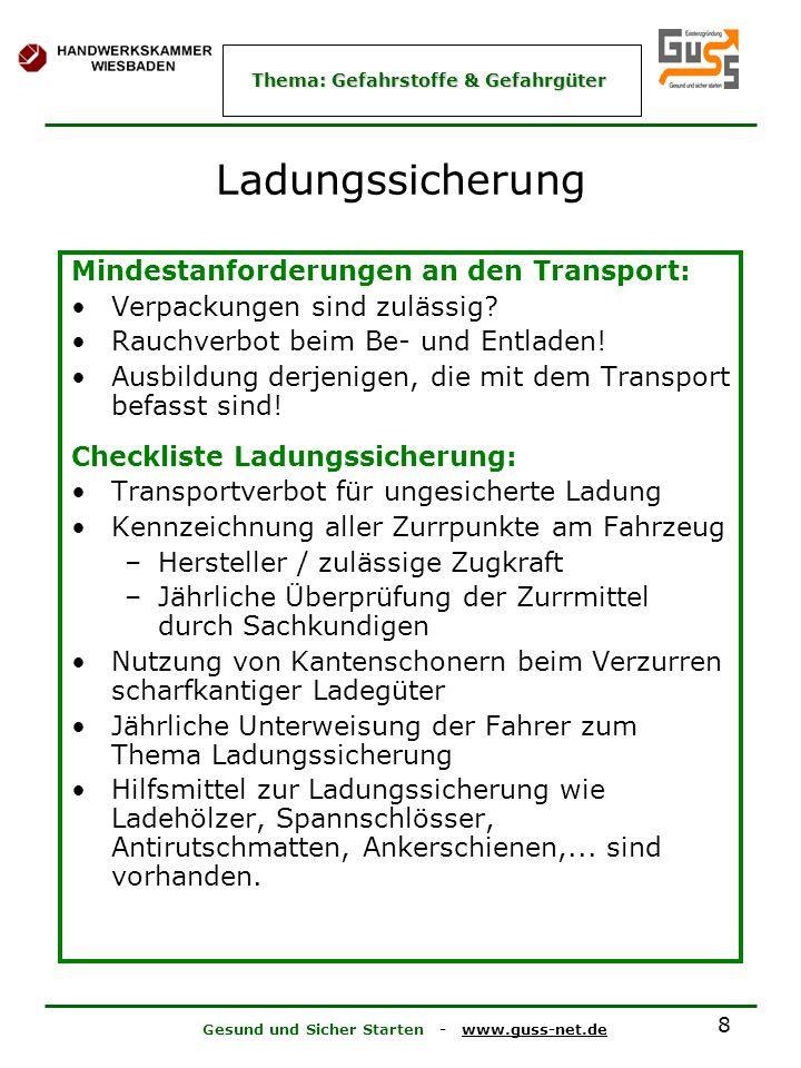 Ladungssicherung Mindestanforderungen an den Transport: