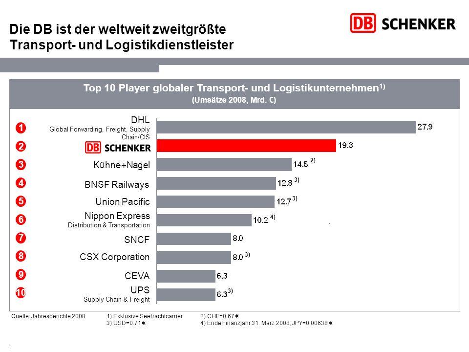 Die DB ist der weltweit zweitgrößte Transport- und Logistikdienstleister