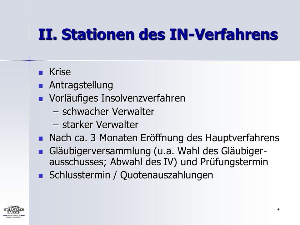 II. Stationen des IN-Verfahrens