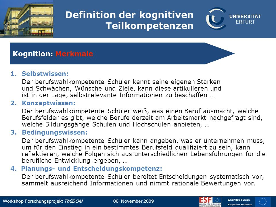 Definition der kognitiven Teilkompetenzen
