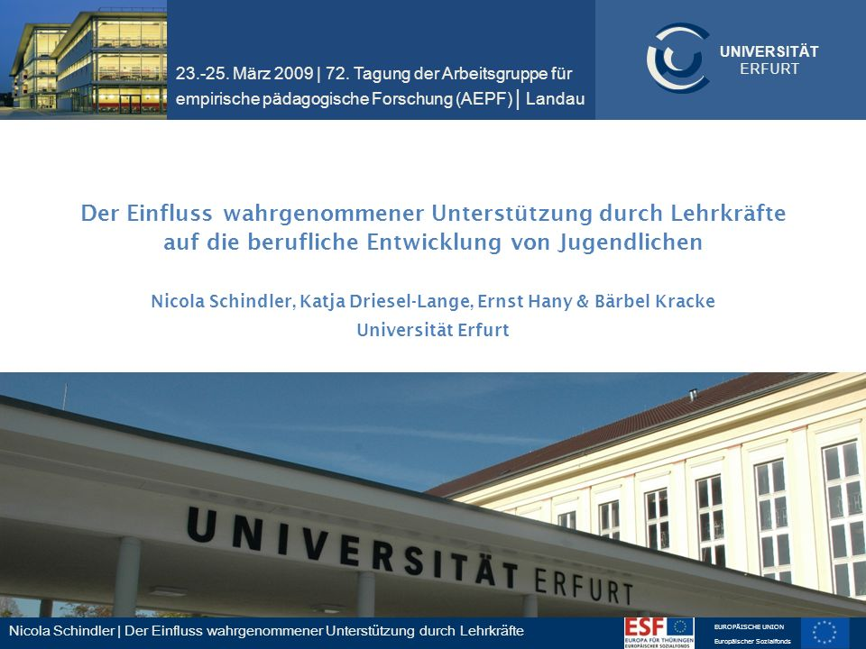 23.-25. März 2009 | 72. Tagung der Arbeitsgruppe für empirische pädagogische Forschung (AEPF) | Landau
