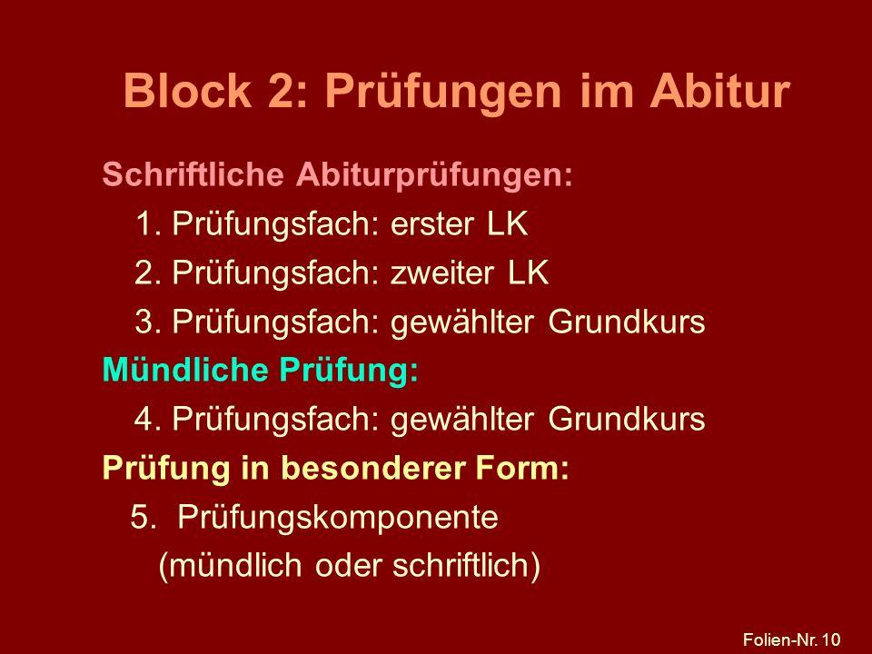 Block 2: Prüfungen im Abitur