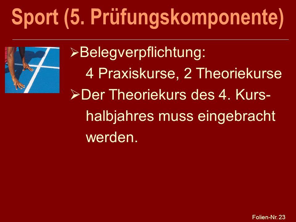 Sport (5. Prüfungskomponente)
