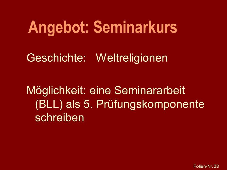 Angebot: Seminarkurs Geschichte: Weltreligionen