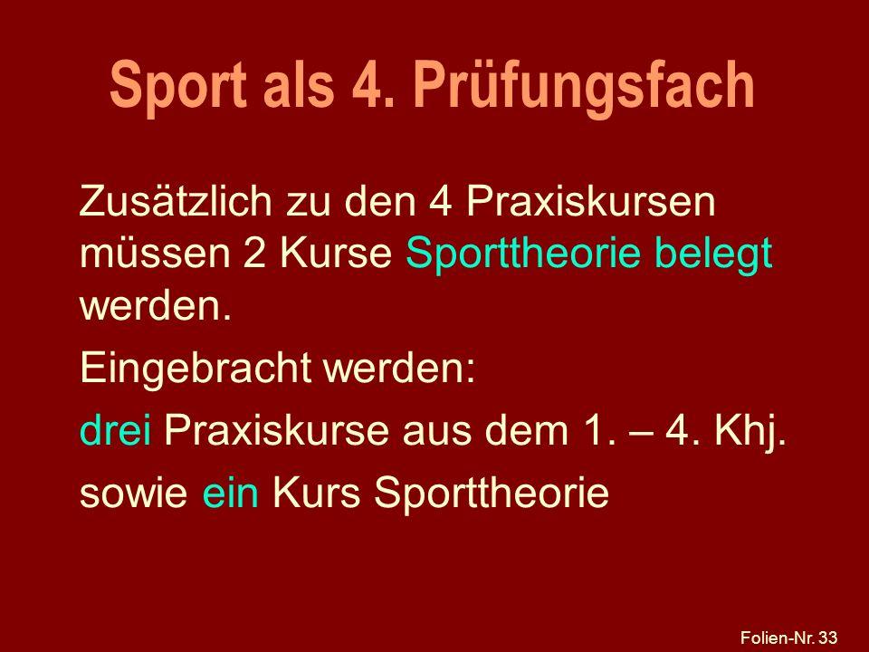 Sport als 4. Prüfungsfach