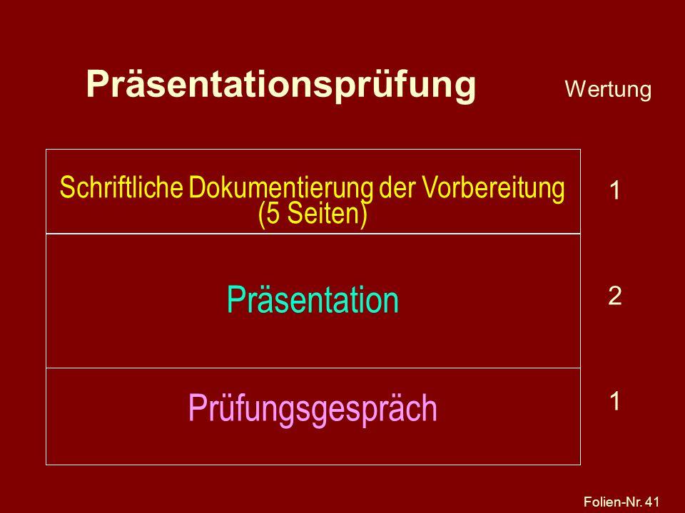 Präsentationsprüfung Wertung