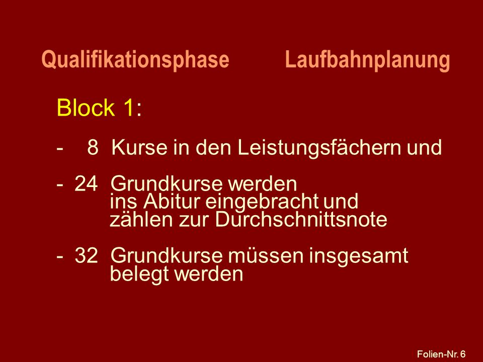 Qualifikationsphase Laufbahnplanung