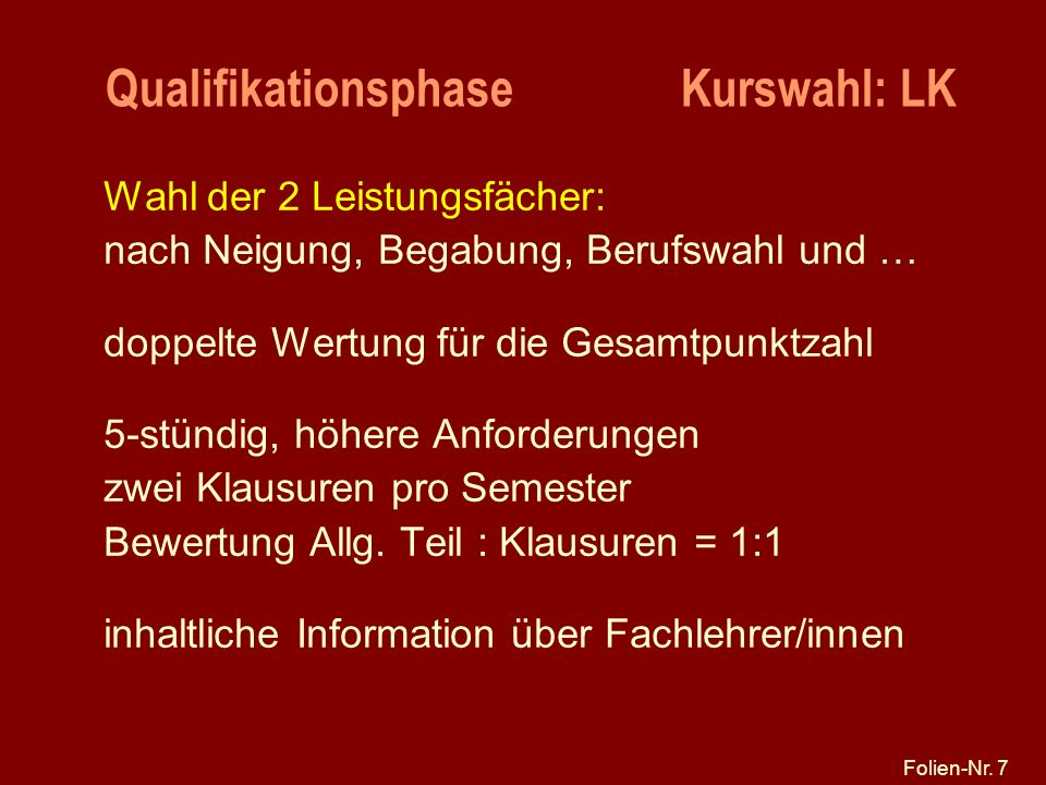 Qualifikationsphase Kurswahl: LK