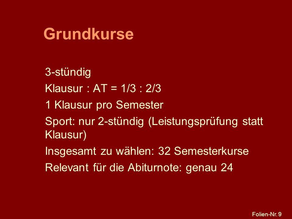 Grundkurse 3-stündig Klausur : AT = 1/3 : 2/3 1 Klausur pro Semester