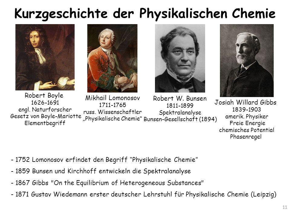 Kurzgeschichte der Physikalischen Chemie