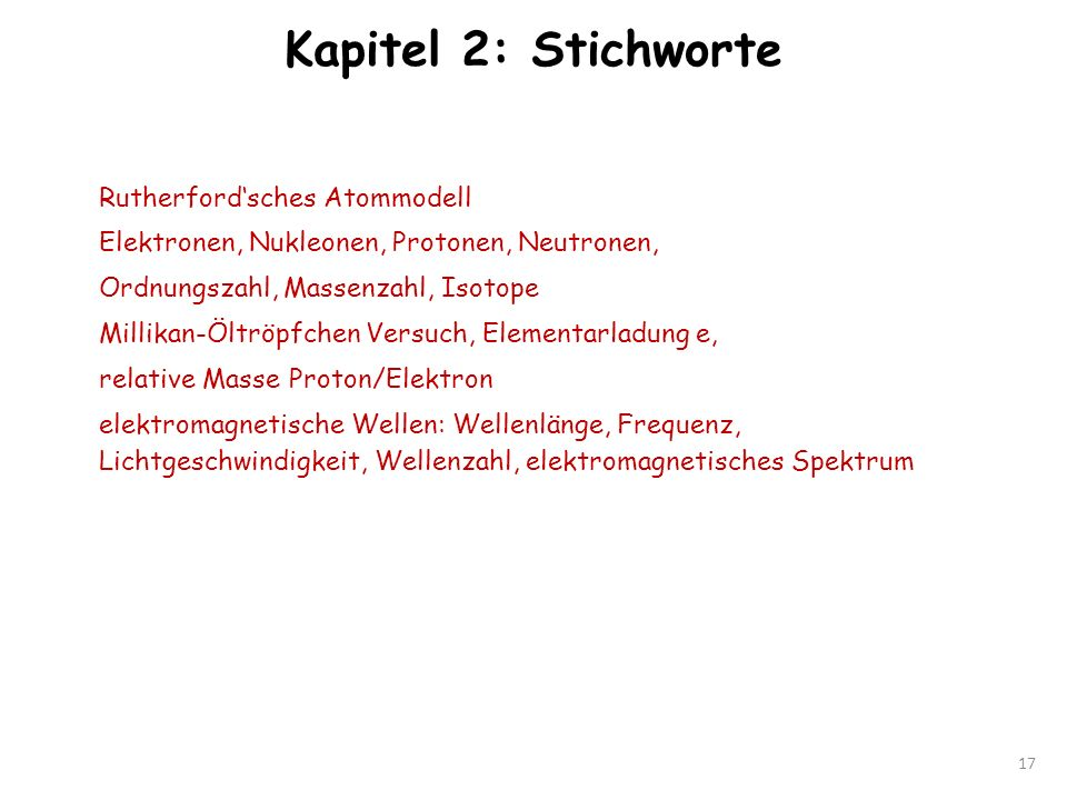 Kapitel 2: Stichworte Rutherford'sches Atommodell