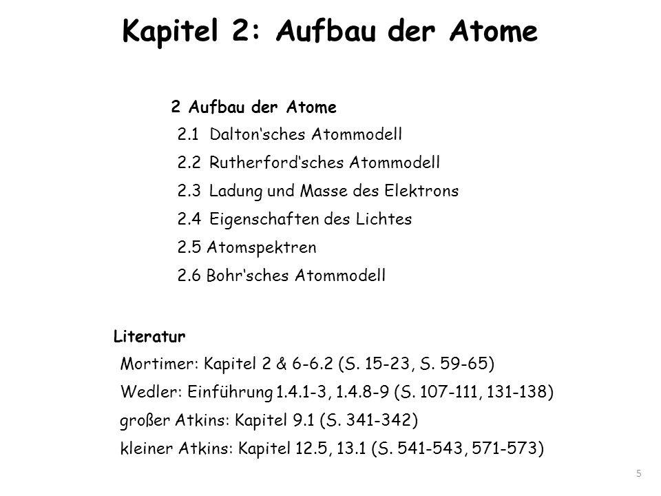 Kapitel 2: Aufbau der Atome