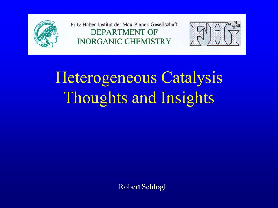 Heterogeneous Catalysis Thoughts and Insights
