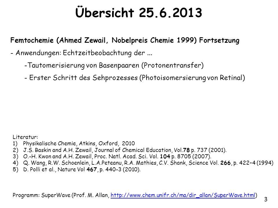 Übersicht 25.6.2013 Femtochemie (Ahmed Zewail, Nobelpreis Chemie 1999) Fortsetzung. Anwendungen: Echtzeitbeobachtung der ...