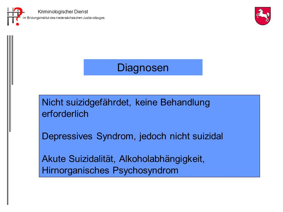Diagnosen Nicht suizidgefährdet, keine Behandlung erforderlich