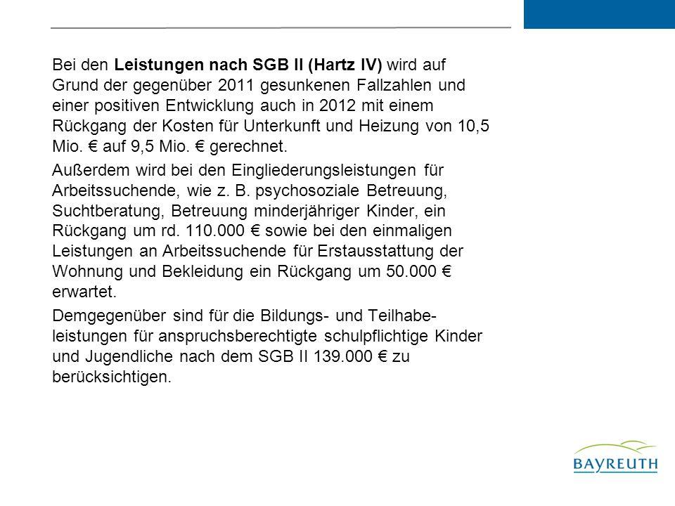 Bei den Leistungen nach SGB II (Hartz IV) wird auf Grund der gegenüber 2011 gesunkenen Fallzahlen und einer positiven Entwicklung auch in 2012 mit einem Rückgang der Kosten für Unterkunft und Heizung von 10,5 Mio. € auf 9,5 Mio. € gerechnet.