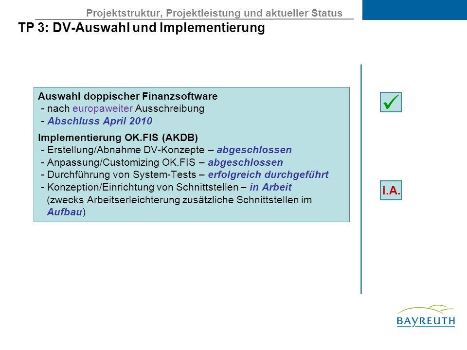 Projektstruktur, Projektleistung und aktueller Status TP 3: DV-Auswahl und Implementierung