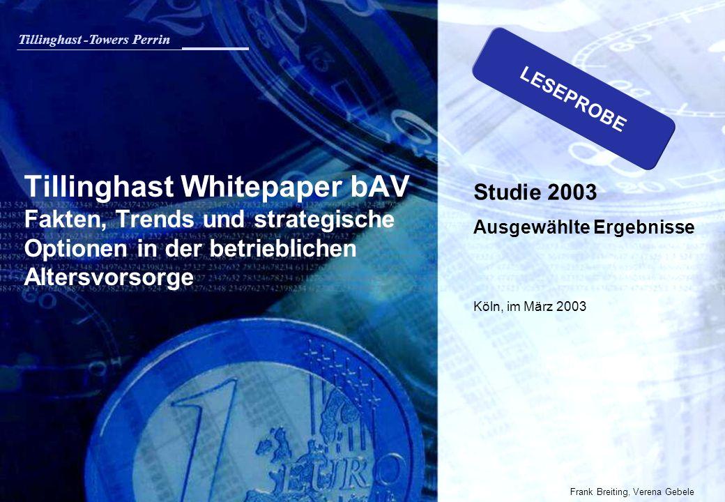 LESEPROBE Tillinghast Whitepaper bAV Fakten, Trends und strategische Optionen in der betrieblichen Altersvorsorge.