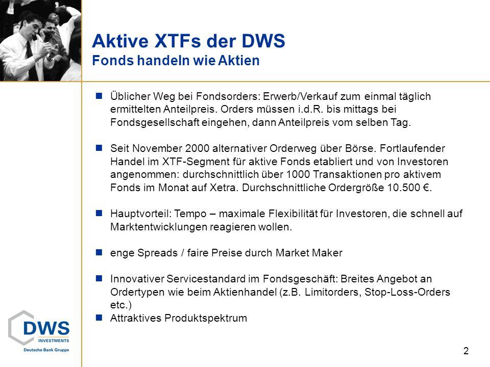 Aktive XTFs der DWS Fonds handeln wie Aktien