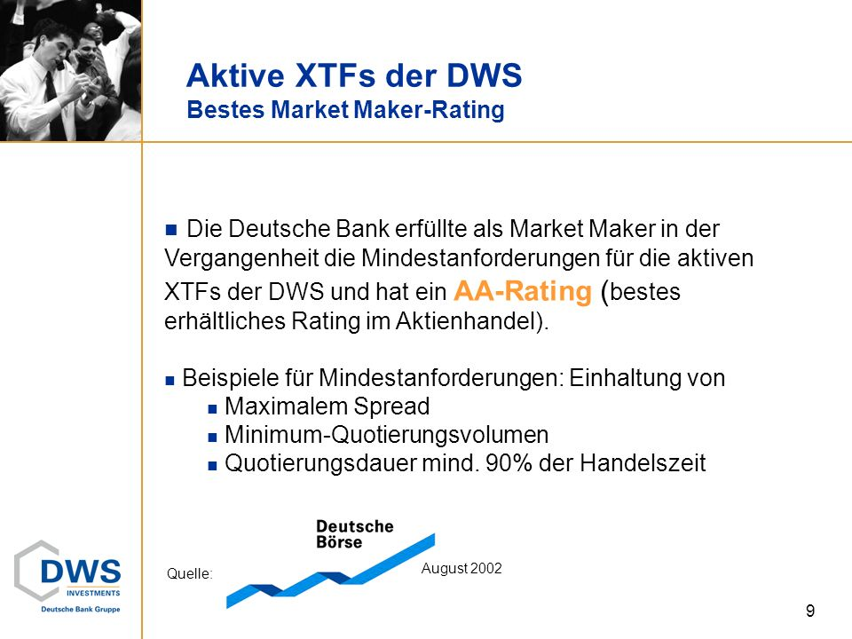 Aktive XTFs der DWS Bestes Market Maker-Rating