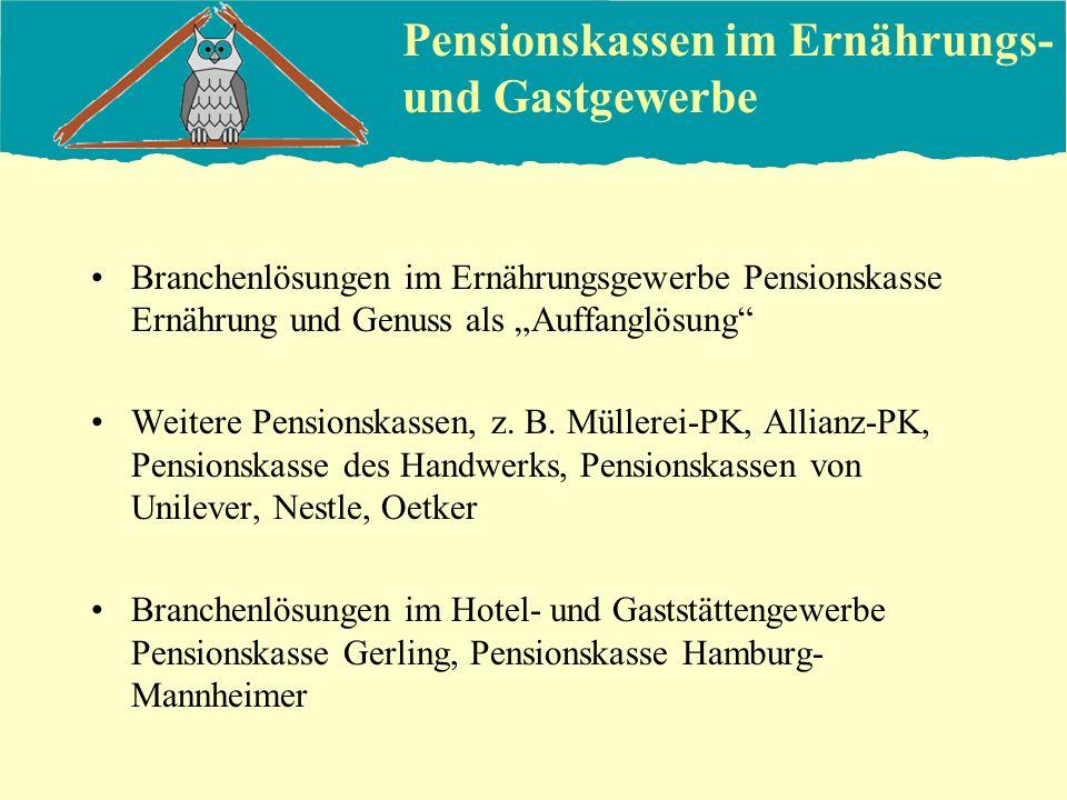 Pensionskassen im Ernährungs- und Gastgewerbe