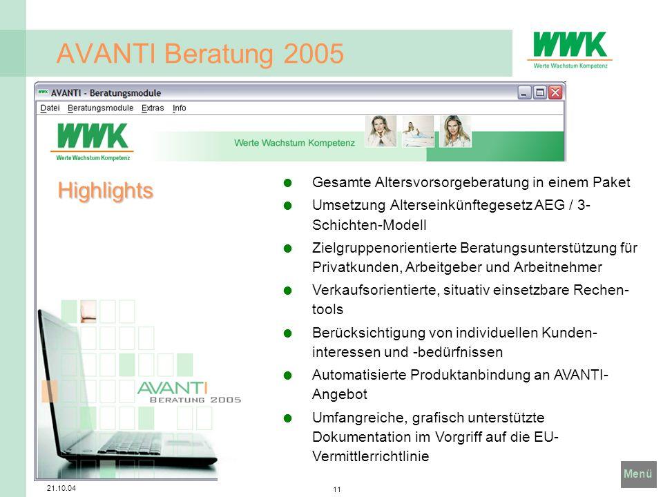 AVANTI Beratung 2005 Highlights