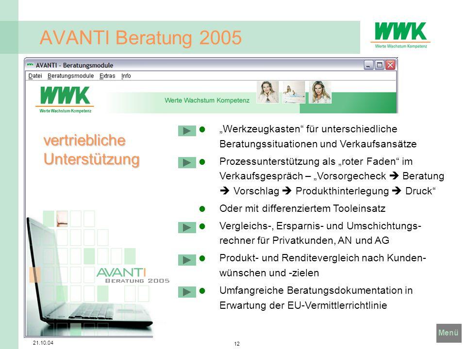 AVANTI Beratung 2005 vertriebliche Unterstützung