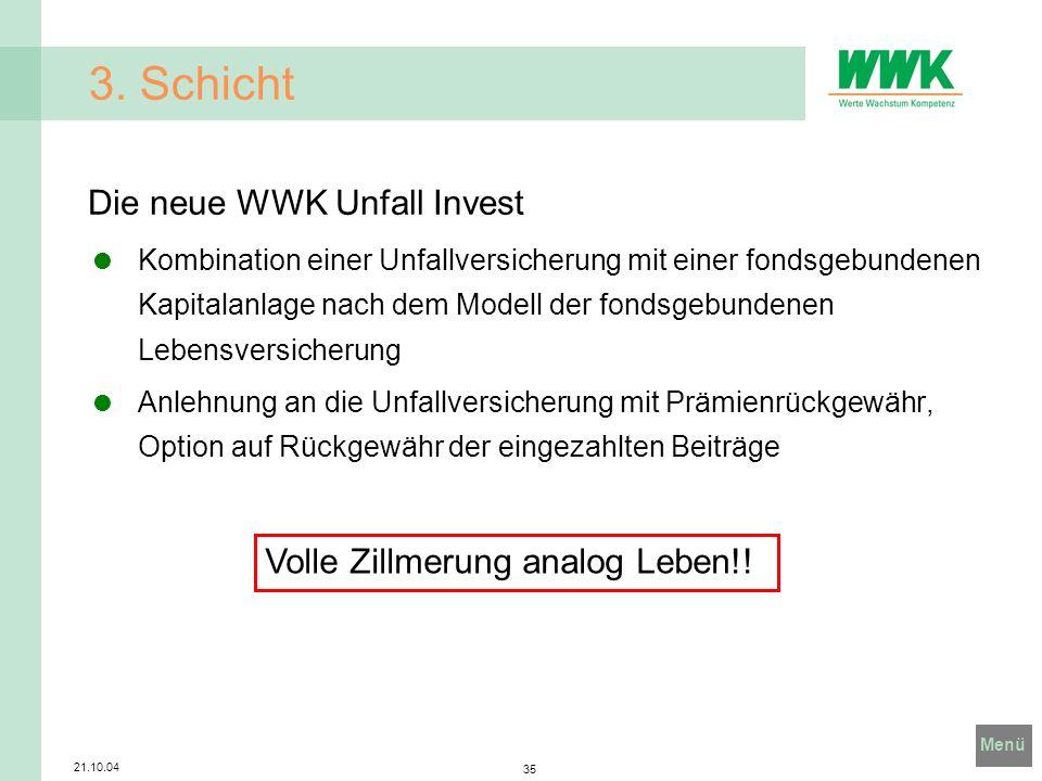 3. Schicht Die neue WWK Unfall Invest Volle Zillmerung analog Leben!!