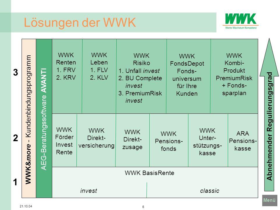 Lösungen der WWK 3 2 1 WWK&more - Kundenbindungsprogramm