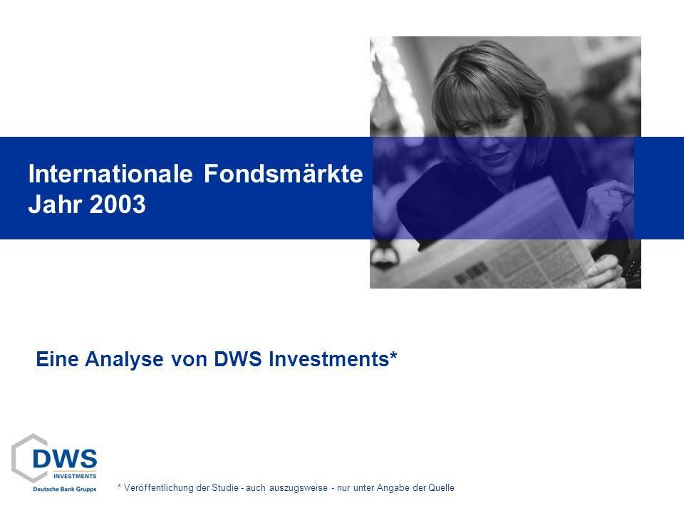 Internationale Fondsmärkte Jahr 2003